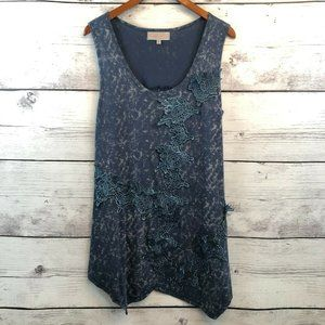 Pretty Angel Blue Tie Dye Lace Applique Tunic Top